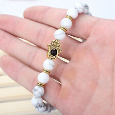 Hot Men's White Howlite Gemstones Gold Hamsa Beaded Stretch Protection Bracelets