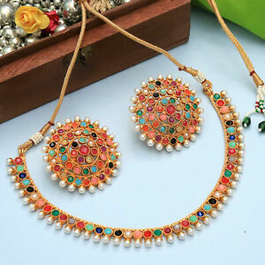 Indian Bollywood Gold Plated Pearl Kundan Necklace Tops Earring Wedding Jewelry