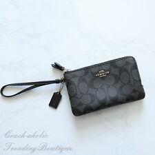 Authentic Coach Signature Black Double Corner Zip Wristlet F87591
