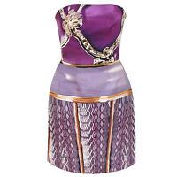 MARY KATRANTZOU strapless purple ribbon print silk-blend dress 12-UK/8-US NEW