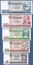 EAST GERMANY Set 5 Banknotes 1971/1975 UNC  P.27a,28b,29a,30b,31a