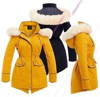 Womens Parka Coat Ladies Fur Jacket Size 8 10 12 14 16 Mustard