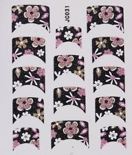 Nail Art Decal Stickers Glitter Nail Tips Black Pink Gold Flowers JC031