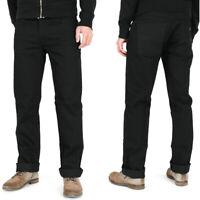 Nudie Herren Regular Straight Fit Raw Denim Jeans Hose |Slim Jim Org. Dry Black
