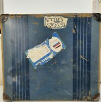 Vintage Large Blue Hard Shell Suitcase Stickers Worn Prop Display Shabby