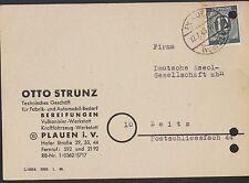 PLAUEN, Postkarte 1946 Otto Strunz Automobil-Bedarf Fabrik Vulkanisier-Werkstatt