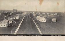Real Photo Postcard Looking West from High School in Halstad, Minnesota~111376