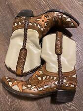 Old Gringo Beige Tan Leather Point Toe 9.5 Cowboy Western Boots Women 9.5B EUC