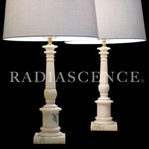 PAIR NEO CLASSIC MARBLE ROMAN TUSCAN COLUMNS HOLLYWOOD REGENCY MODERN lamp 1950