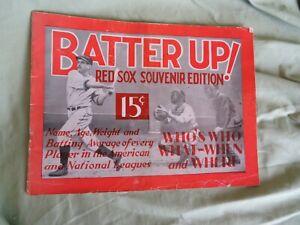 BABE RUTH ~ DIMAGGIO ~ 1936 BOSTON RED SOX SOUVENIER PROGRAM ~ ORIGINAL BASEBALL