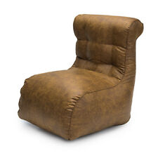 Tan Loft 25® Luxury Scroll Faux Leather Bean Bag Large Beanbag Bedroom Chair