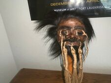 WILD  HAIRED WARRIOR JIVARO SHRUNKEN HEAD -TSANTSA