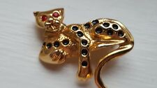 Gold Tone Leopard Brooch Red Stone Eyes