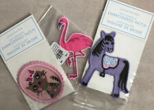 Pottery Barn Kids Lot Of Three Kids Embroidered Patches Horse Flamingo Cat New