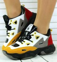 NEW WOMENS LADIES CHUNKY TRAINERS PLATFORM FASHION SNEAKERS LACE UP SPORTS SHOES