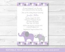 Lavender Polka Dot Jungle Elephant Printable Baby Shower Invitation Editable PDF