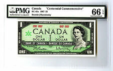 1967 $1 CANADA PMG GEM UNC 66 CENTENNIAL COMMEMORATIVE BC-45A EPQ BANKNOTE