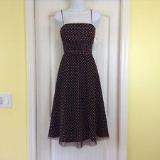 NWT Eliza J Brown White Polka Dot Ruched Bodice Spaghetti Strap Sz 8 Event Dress