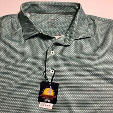 Johnnie O Mens Green White SS Polo Shirt UPF 50 Sz XL Prep Performance $89