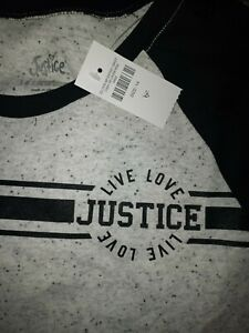 Girls justice speckled colorblock raglan size 14 new