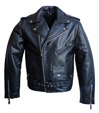 Giacca in Pelle Uomo Rockabilly Marlon Brando, Biker Giacca
