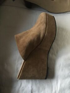 Robert Clergerie Uk 8 New Light Tan Suede Platform Wedge Shoes