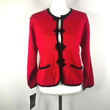 Vintage 1994 90s Tally-Ho Womens M Acrylic Red Black Toggle Knit Jacket NWT