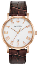 Bulova American Clipper Quartz White Dial Brown Leather Men's Watch 97B184