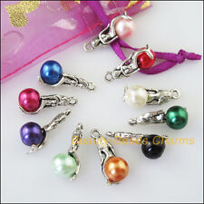 10 New Mixed Lots of Tibetan Silver Tone Mermaid Beads Charms Pendants
