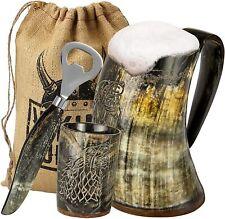 "Viking Culture Ox Horn Mug, Shot Glass,and Bottle Opener (3 Pc. Set) ""Fenrir"""