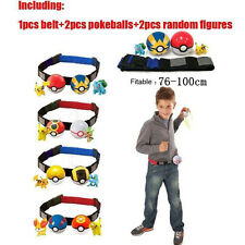 Cartoon Pokemon Clip Carry Kids Adjustable Belt+Poke Ball+Figures Play Game Toy