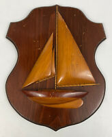 Wooden Sailboat Folk Art Plaque Hand Crafted Maine State Prison Vintage Decor