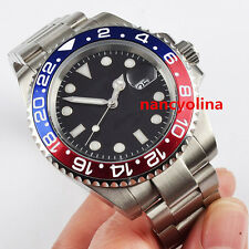 40mm parnis lumen blue red ceramic bezel sapphire glass automatic date watch 309