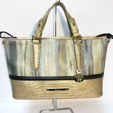 Brahmin Gold Brown Lizard Mini Asher Satchel Crossbody Tote Lizard Calf Hair NWT