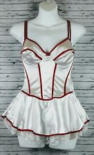 Jolie Intimates Lingerie 34C Baby Doll Teddy Underwire red, white lace trim