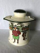 *ULTRA RARE PIECE* Royal Doulton Crombie Golfers Tobacco Jar & Pipe Stand D3395