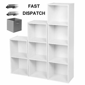 Wooden Storage Unit Cube 2 3 4 Tier White Bookcase Shelving Home Office Display