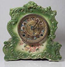 Antique Gilbert 438 Porcelain Case Clock, Beautiful Green w/ Original Movement!