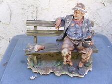 Vintage Original Italy Bisque Figurine Hobo on Bench w Birds b.P.A. Usmate TLC