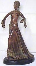 EXCEPTIONAL ANTIQUE ART DECO ROARING 20's BRONZE FLAPPER WOMAN DANCER STATUE