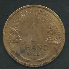 FRENCH WEST AFRICA, 1944 (L), 1 FRANC, ALUMINUM BRONZE, KM#2, (Y#2), AU (001)