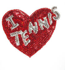 Heart I Love Tennis Bead And Sequin Applique Set Of 5