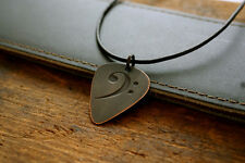 Hand Made Etched Copper Bass Clef Guitar Pick with Necklace