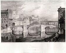 FIRENZE DAL PONTE ALLA CARRAIA. Granducato di Toscana. HAKEWILL. ACCIAIO. 1818