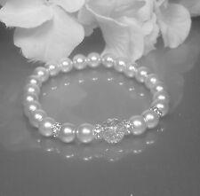Funkelndes Perlen Armband weiß  Crackle Perle  Strass Rondelle NEU