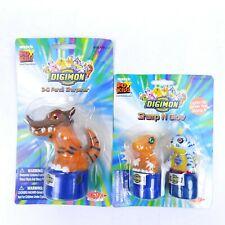 Digimon Greymon 3D Pencil Sharpener & Stamp N Glow Agumon Gabumon Figures