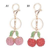 Cute Cherry Rhinestone Keyring Charm Pendant Car Purse Bag Decor Key Ring FWT