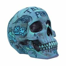 More details for tattoo fund - blue 18cm nemesis now skull money box gothic ornament - free p+p