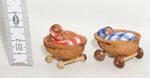 Puppenbett für Puppenstube Puppenhaus Dekoration Nussschale DDR