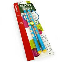 2 x STABILO Easygraph Handwriting Pencils - HB - Left Handed -Light Blue Barrel